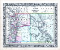 Oregon, Washington and Idaho, World Atlas 1864 Mitchells New General Atlas